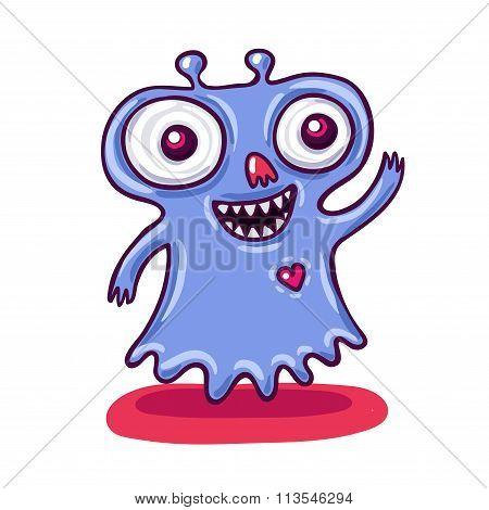 Cute Little Purple Monster Illustration