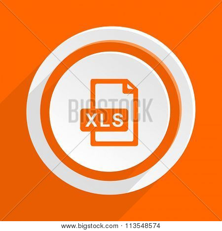 xls file orange flat design modern icon for web and mobile app