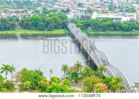 Double span bridge connecting waterfront TrangTien Perfume