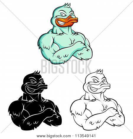 Ducks Strong Mascot .eps10 editable vector illustration design