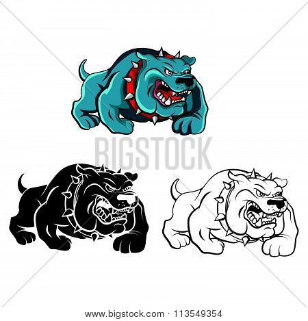 Coloring book Bull Dog cartoon character - vector illustration .EPS10