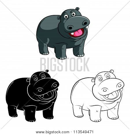 Coloring book Hippo cartoon character - vector illustration .EPS10