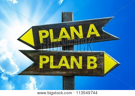 Plan A - Plan B signpost with sky background