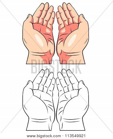 Coloring book Praying Hand cartoon character