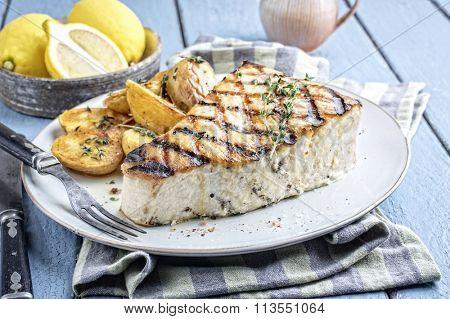 Barbecue Swordfish Steak on Plate