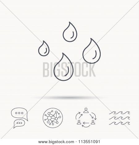Water drops icon. Rain or washing sign.