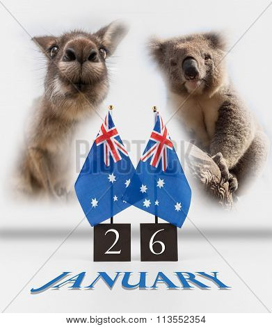 Two Australian Desk Flags, Koala And Kangaroo. 26 January Australia Day