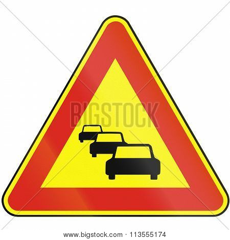 Road Sign Used In Slovakia - Traffic Jam (as A Temporary Sign)