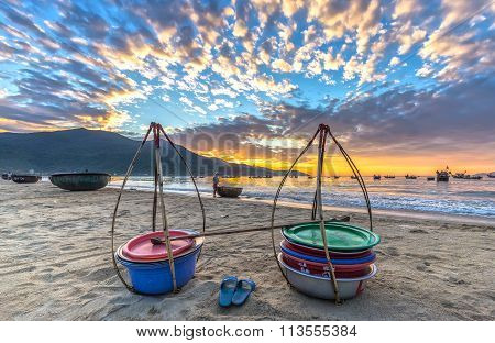 Sunrise over fishing village of Danang