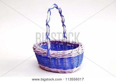 Decorative Wicker Basket Made Of Wicker On A Light Background