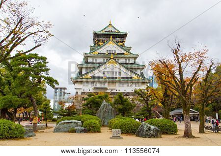 People visit Osaka Castle at Osaka castle park Japan