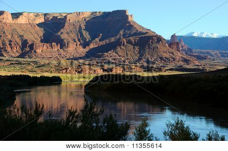 Fisher Towers and Colorado River near Sunset