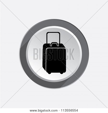 Baggage icon. Luggage for traveling. Info symbol. Black sign on white-gray button with shadow. Vecto