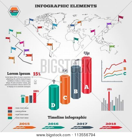 Infographics elements set. Columns, map, timeline diagram with icons and shadow. Business banner. Pr