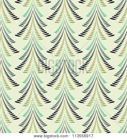 Seamless Christmas pattern. Stylized ornament of trees, firs on light yellow gray background. Winter