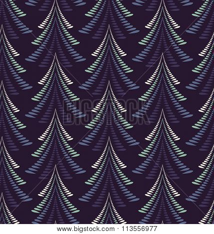 Seamless Christmas pattern. Stylized ornament of trees, firs on dark blue background. Winter, New Ye