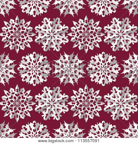 Origami snowflake seamless pattern. Christmas, New Year texture. Paper cut out white signs on dark r