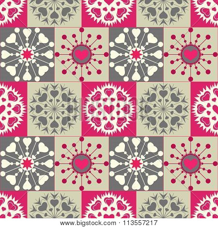 Christmas seamless pattern. Heart snowflakes. New Year, Valentine day, birthday texture. Gray, magen