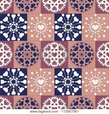Christmas seamless pattern. Heart snowflakes. New Year, Valentine day, birthday texture. Vinous, blu