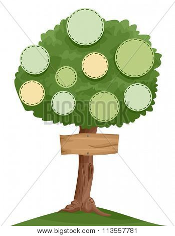 Illustration of a Family Tree with Designated Spots for Individual Photos