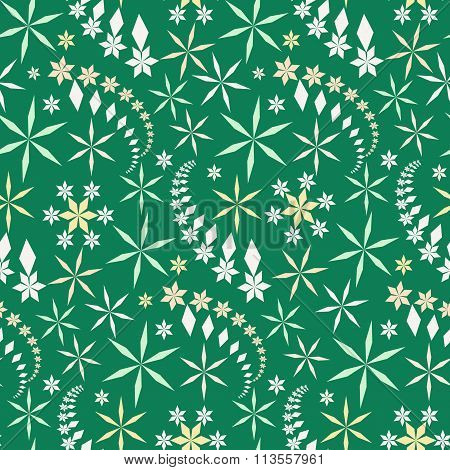 Seamless christmas pattern. Snowflakes, crystals on green background. Winter, holiday sale, wrapper