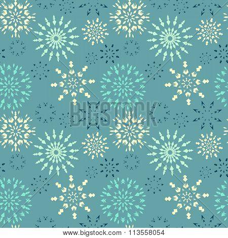Christmas seamless pattern. White, light snowflakes on blue background. Winter retro texture. Snow i