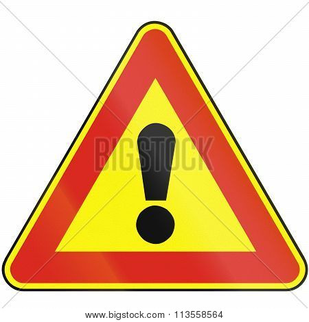 Road Sign Used In Slovakia - Other Hazards (as A Temporary Sign)
