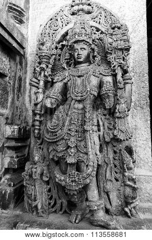 Statue of Lord Veerabhadra at entrance of Hoysaleswara Temple, Halebidu taken December 30th, 2015