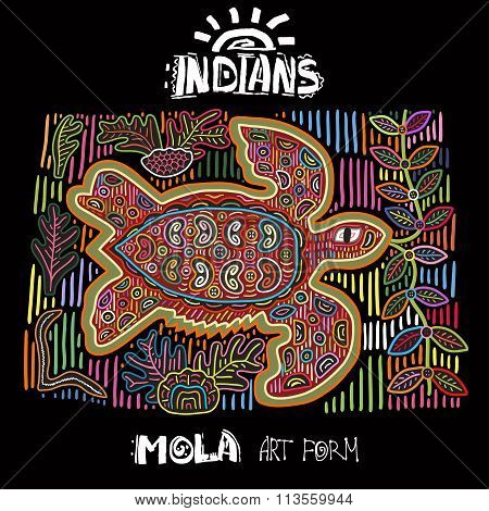 Vector Ethnic Design Element. Indians. MOLA Art Form. Mola Style Turtle. Ethno Bright Decorative Ill