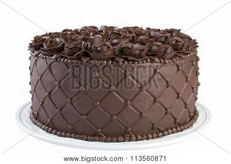Triple Chocolate Rose cake isolated on white