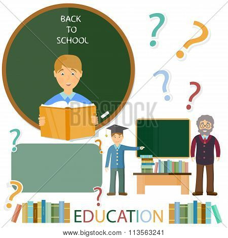 Education Concept. Schoolboy And Teacher. Questions And Answers