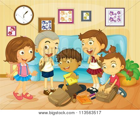 Boys and girls packing bags in the room illustration
