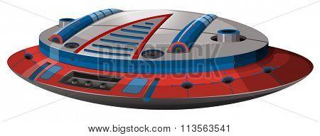 Round spaceship with modern design illustration