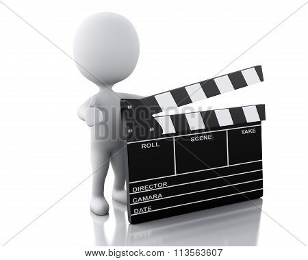 3D White Person Standing Next To Movie Clapper.