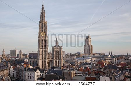 View Over Antwerp With Cathedral Of Our Lady
