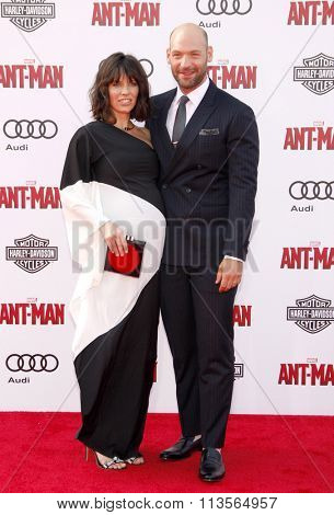 Evangeline Lilly and Corey Stoll at the Los Angeles premiere of Marvel's