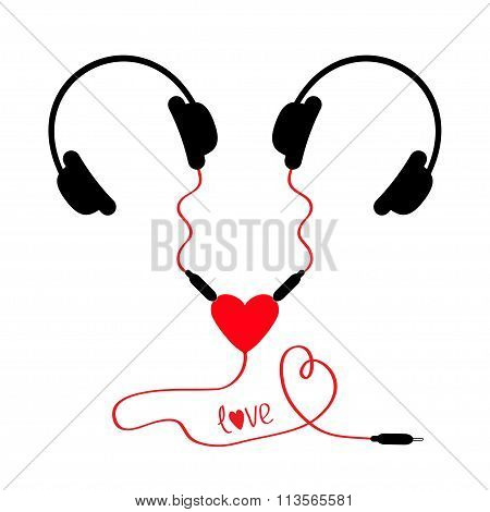 Two Headphones. Earphones Couple Audio Splitter Adapter Heart. Red Cord. Word Love. Isolated. White