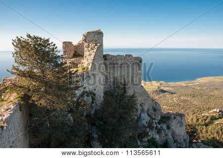 Kantara Castle Overlooking The Sea On Kyrenia Mountain Range, Island Of Cyprus
