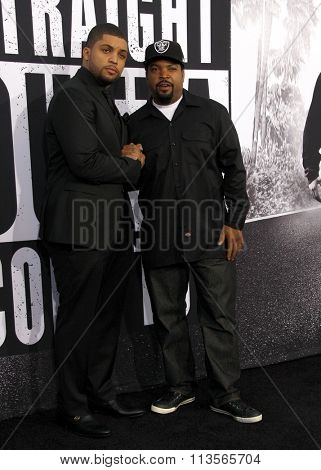 Ice Cube and O'Shea Jackson Jr. at the Los Angeles premiere of