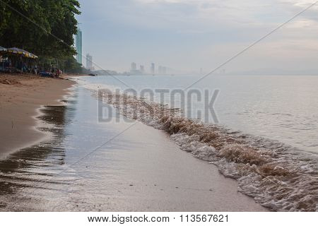 Beach With Sea Waves.