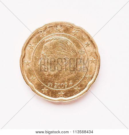 Belgian 20 Cent Coin Vintage