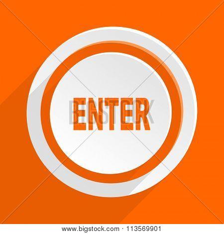 enter orange flat design modern icon for web and mobile app