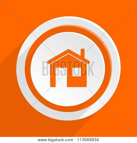 house orange flat design modern icon for web and mobile app