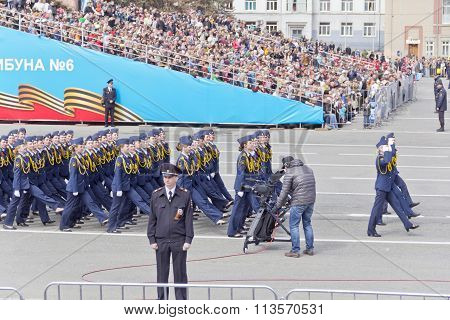 Russian Woman Midshipmans March At The Parade On Annual Victory Day, May, 9, 2015 In Samara, Russia.