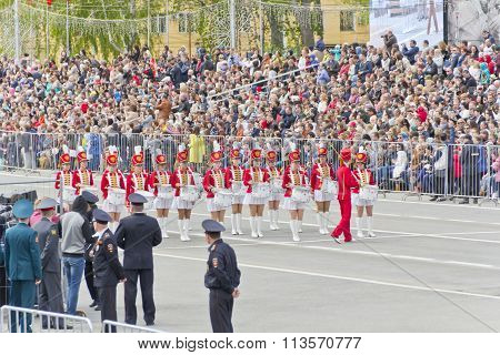 Women Orchestra March At The Parade On Annual Victory Day