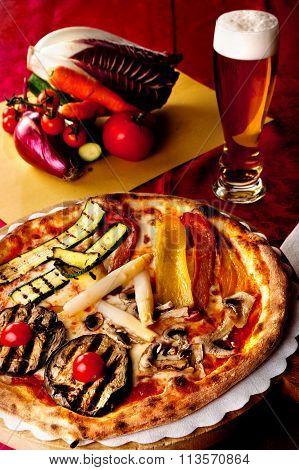 Vegetable pizza & beer