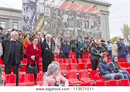 Russian Veteran On Celebration At The Parade On Annual Victory Day