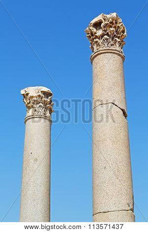 Column In Old  Temple And