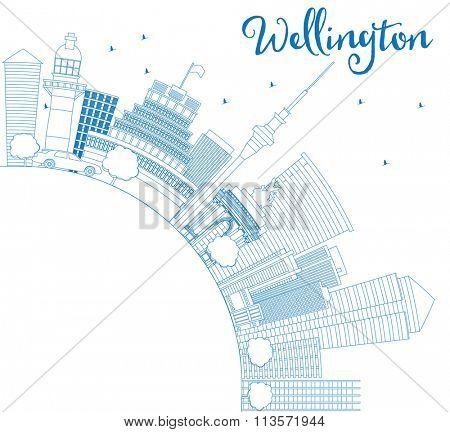 Outline Wellington skyline with blue buildings and copy space. Business travel and tourism concept with place for text. Image for presentation, banner, placard and web site.
