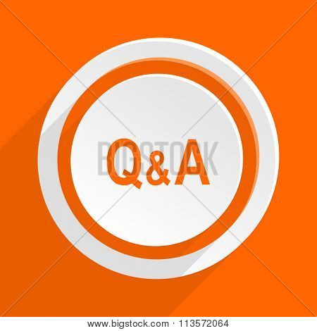 question answer orange flat design modern icon for web and mobile app